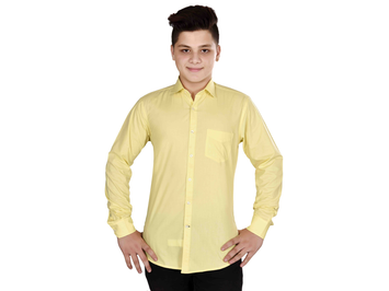 Dry Leaf Yellow Plain Men's Cotton Shirt
