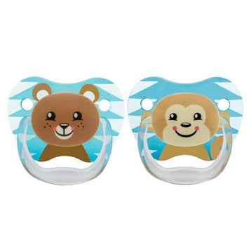Dr Brown's Prevent Printed Shield Pacifier for Boys, Stage 2, 6-12M Animal Faces (Bear & Monkey)