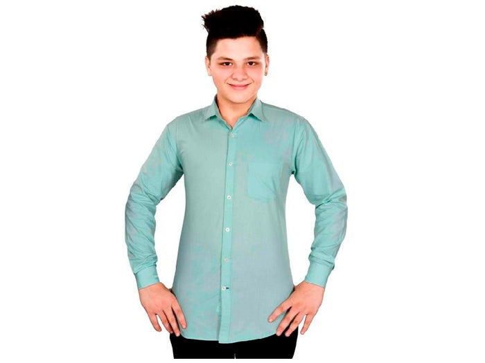 Dry Leaf Dark Cyan Plain Men's Cotton Shirt