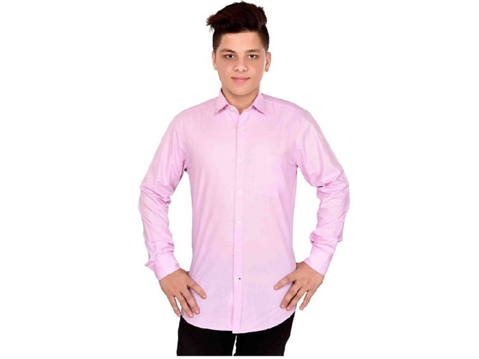 Dry Leaf Dark Pink Plain Men's Cotton Shirt