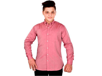 Dry Leaf Dark Pink Twill Men's Cotton Shirt