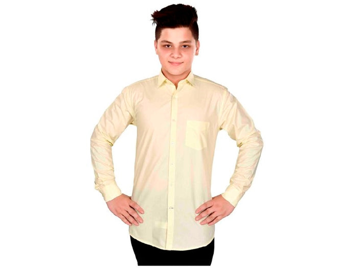 Dry Leaf Lemon Plain Men's Cotton Shirt (40)