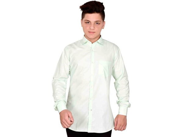 Dry Leaf Light Cyan Plain Men's Cotton Shirt