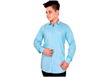 Dry Leaf Turquoise Plain Men's Cotton Shirt