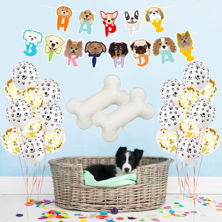 Dog Happy Birthday Decorations Balloons - iKids