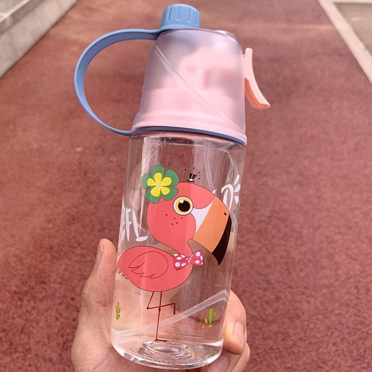 Pink Flamingo Spray Water Bottle - iKids