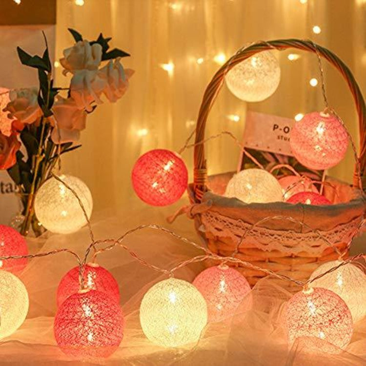 String Lights 20 Cotton Balls - Pink - iKids