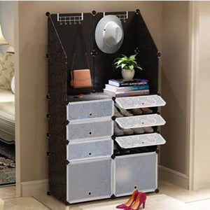 DIY Shoe Organizer with Hat Rack Black - iKids