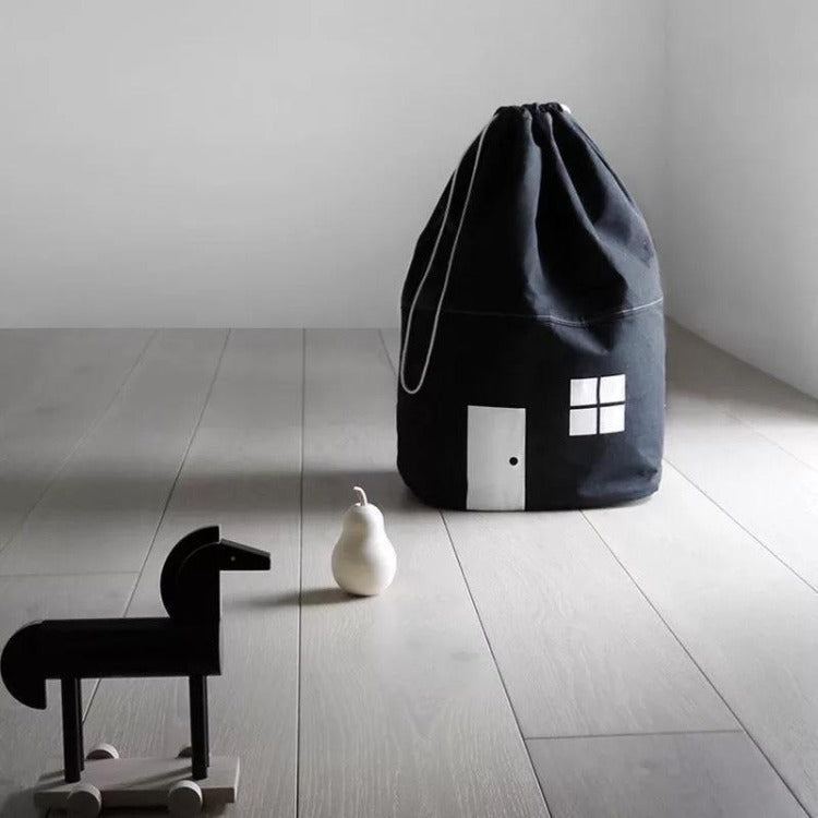 Cotton Storage Bag Black House - iKids