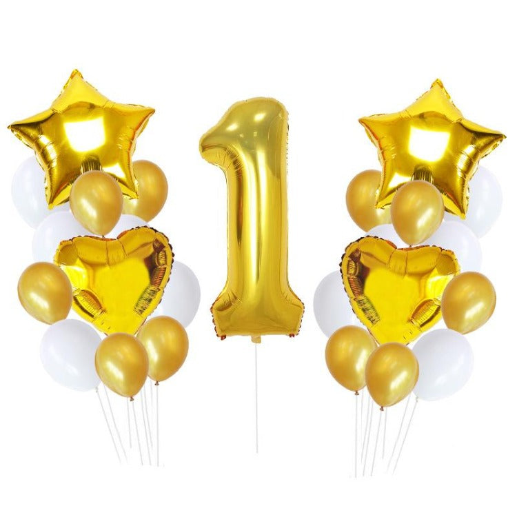 1st Year Gold Birthday Party Balloons - iKids