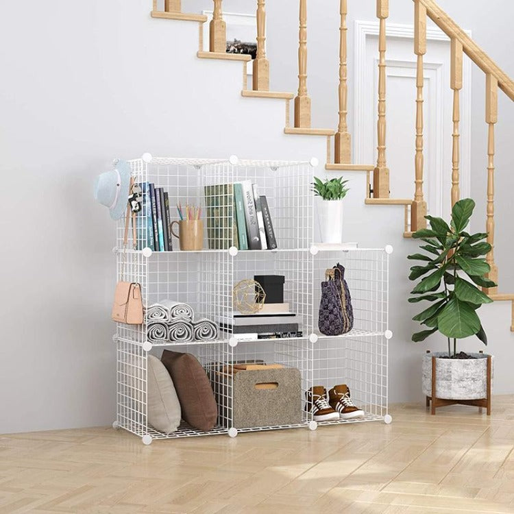DIY Storage Cabinet Wire Grid Metal Organizer White - iKids