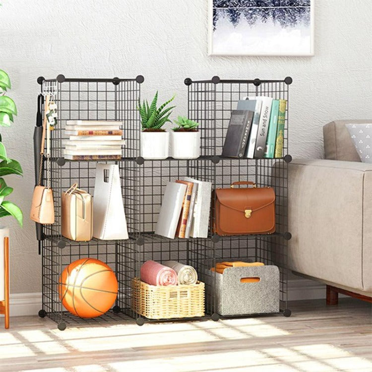 DIY Storage Cabinet Wire Grid Metal Organizer Black - iKids