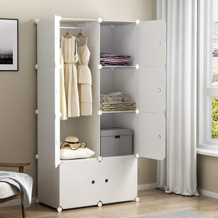 DIY Storage Cabinet Portable Wardrobe White - iKids