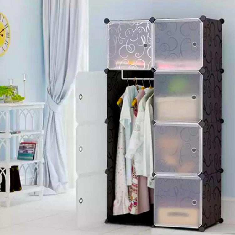 DIY Modular Storage Wardrobe Black - iKids