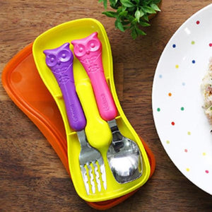 Toddler Stainless Steel Utensil Set Pink - iKids