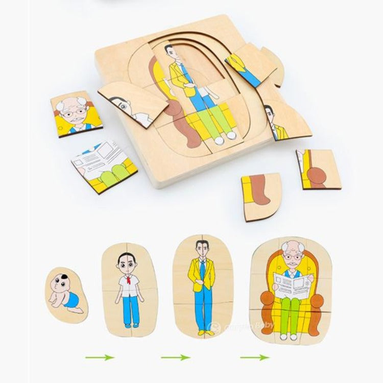 Wooden Man Growth Layered Puzzle - iKids
