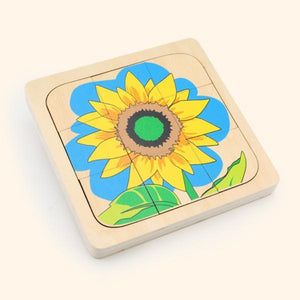 Wooden Sunflower Growth Layered Puzzle - iKids