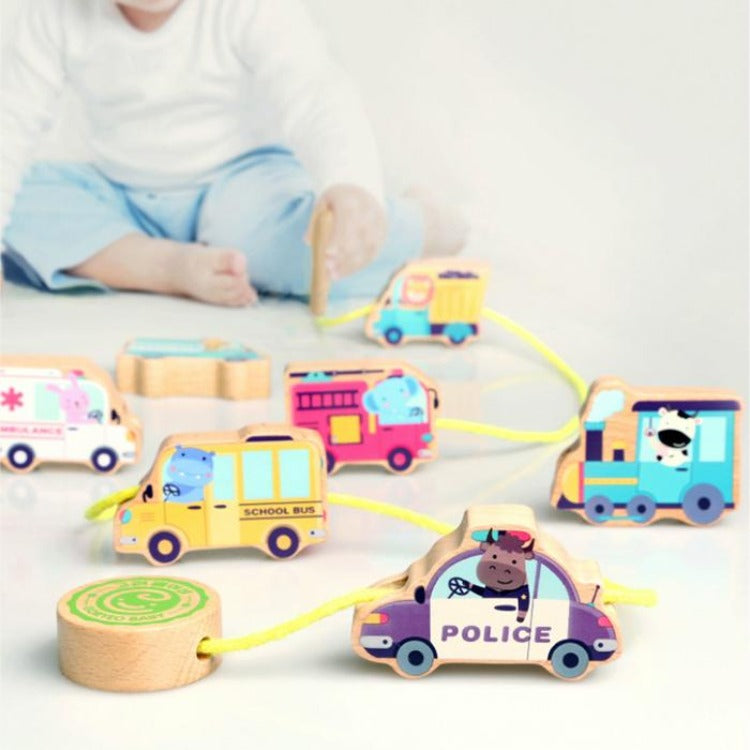 Wooden Vehicles Beads Stringing Blocks - iKids
