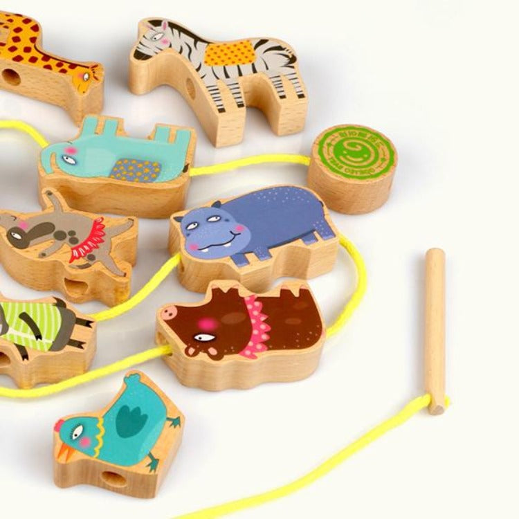 Wooden Animals Beads Stringing Blocks - iKids
