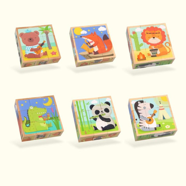 6 Sides Animal Puzzle Block - iKids