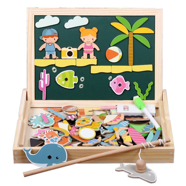 4 in 1 Magnetic Whiteboard with Wooden Puzzle - iKids