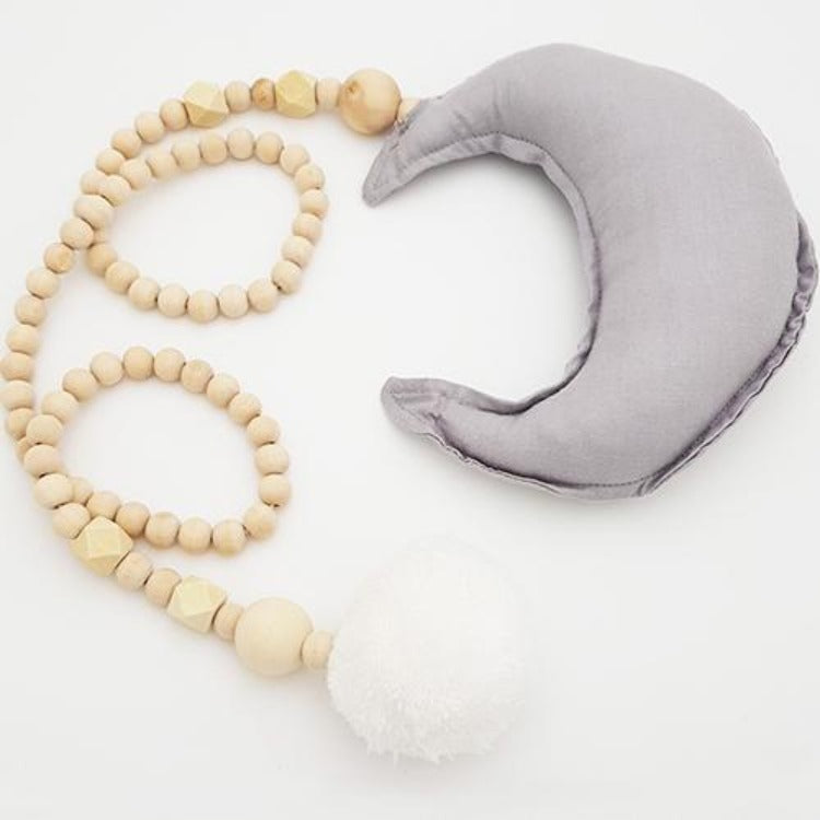 Moon Wooden Beaded Decoration Grey - iKids