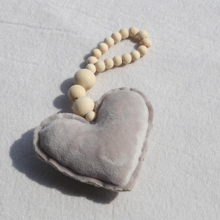 Grey Heart Beaded Ornament - iKids
