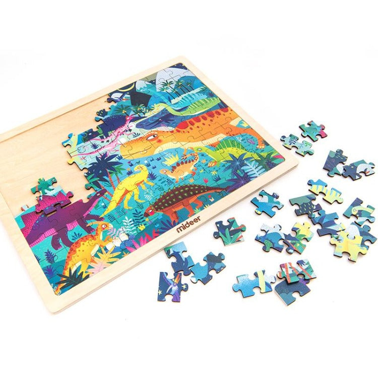 Puzzle with Wooden Frame Dinosaurs World - iKids