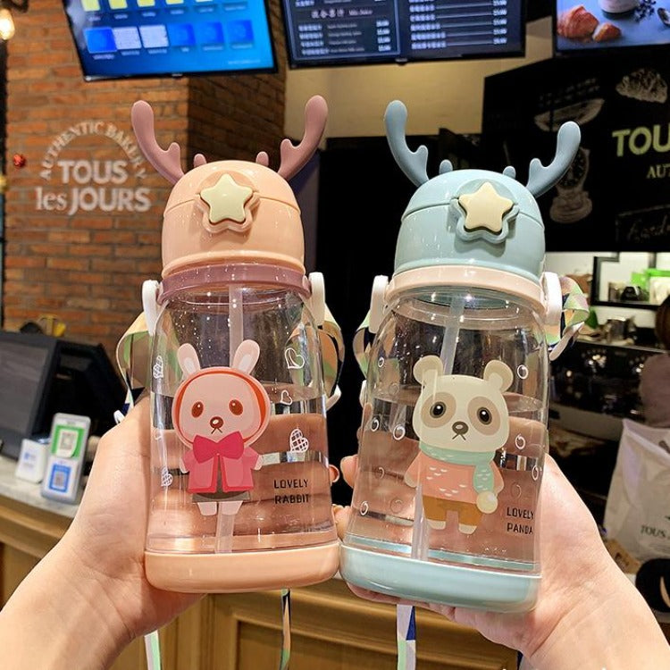 Deer Straw Bottle Blue - iKids