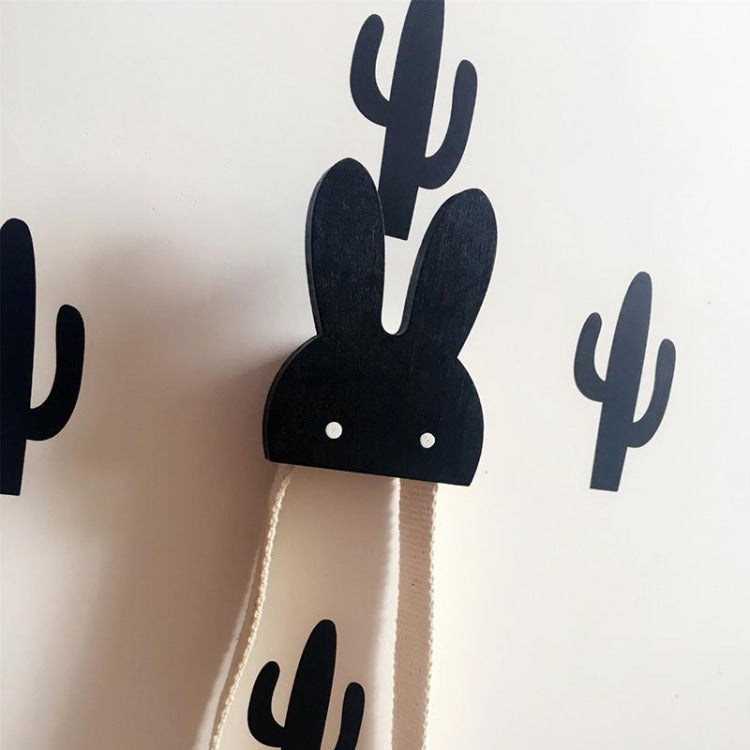 Bunny Wall Hook Black - iKids