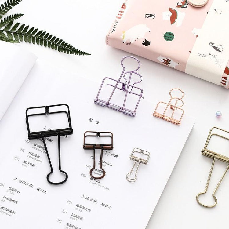 Office Hollow Binder Clip Gold - iKids