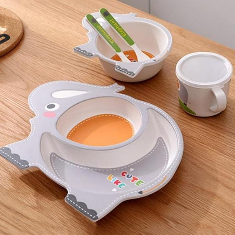 Bamboo 5 Piece Dinner Set Elephant - iKids
