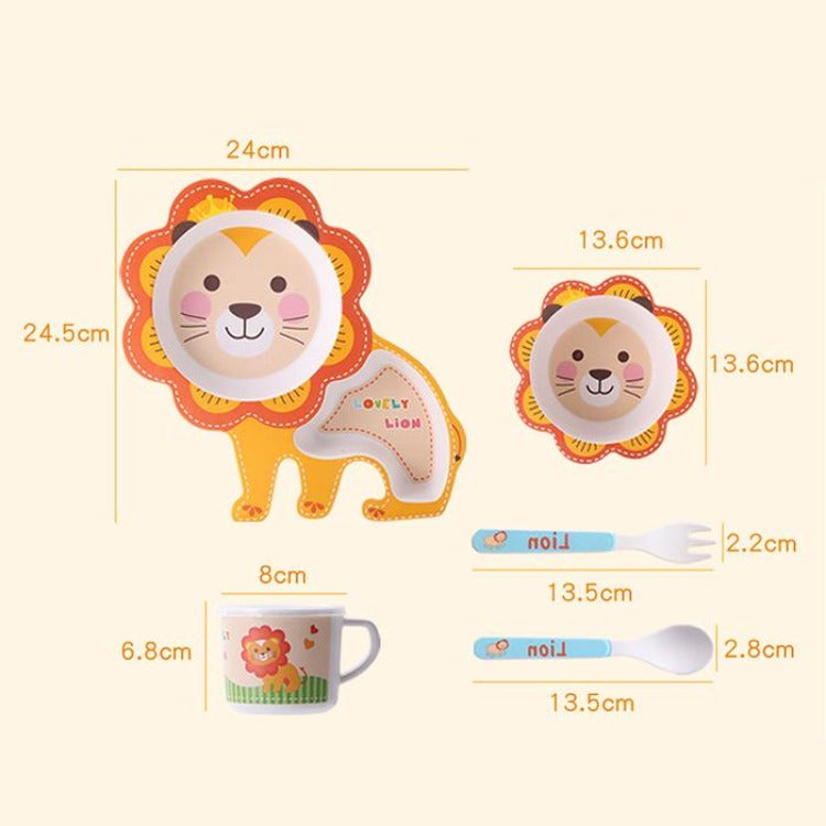 Bamboo 5 Piece Dinner Set Lion - iKids