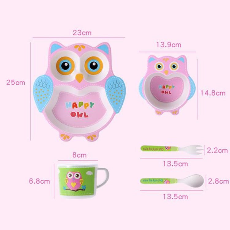 Bamboo 5 Piece Dinner Set Owl - iKids