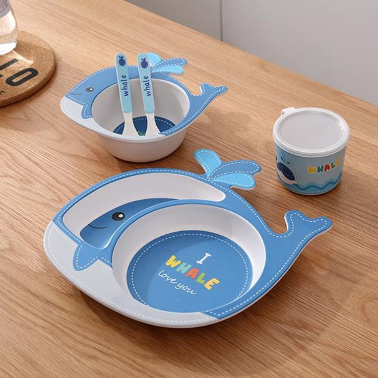 Bamboo 5 Piece Dinner Set Whale - iKids