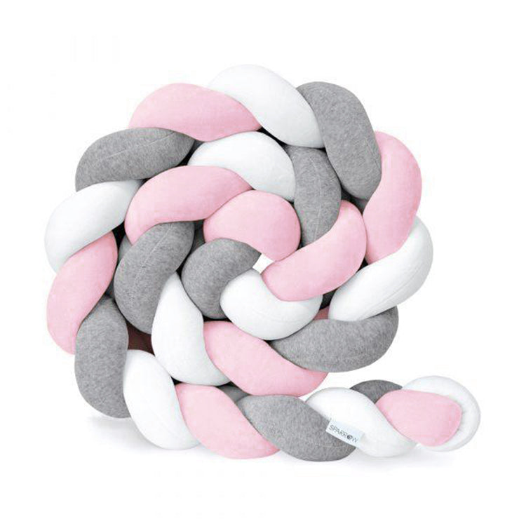 Knot Bumper Cushion White+Grey+Pink - iKids
