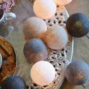 String Lights 10 Cotton Balls - Grey - iKids