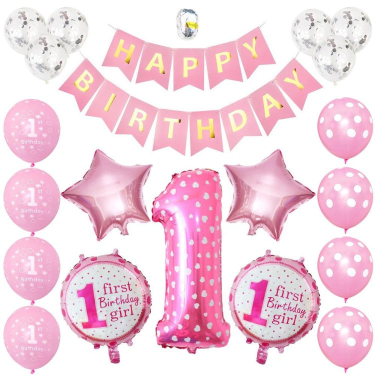 1st Year Girl Birthday Party Balloons - iKids
