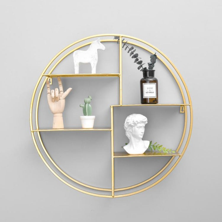 Metal Round Shelf Gold - iKids