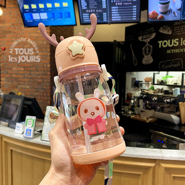 Deer Straw Bottle Pink - iKids