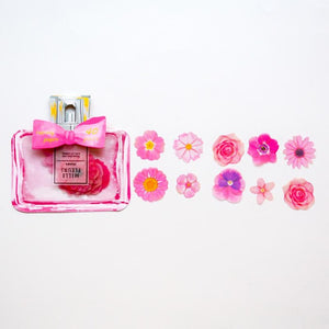 Perfume Bottle Flower Stickers Pink - iKids