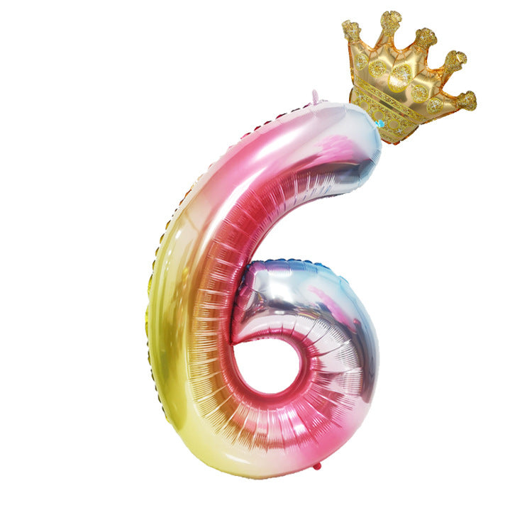 Crown Birthday Balloon Number 6 - iKids