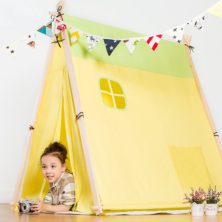 Square Teepee Tent Playhouse Yellow - iKids