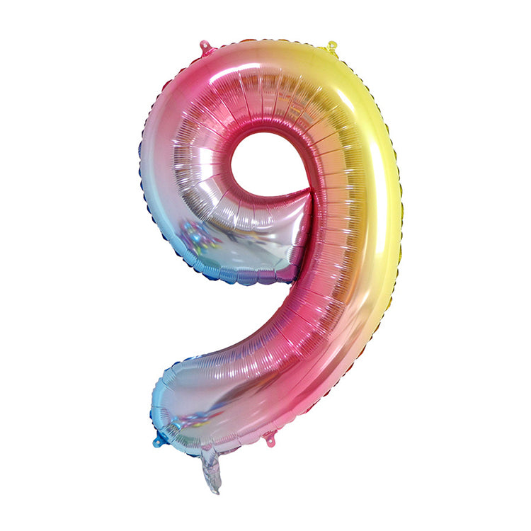 Rainbow Birthday Balloon Number 9 - iKids