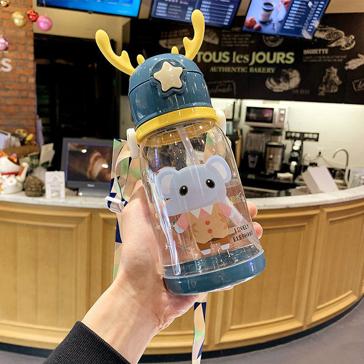 Deer Straw Bottle Navy - iKids