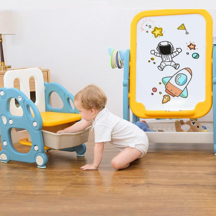 Kids Drawing Board with Bookshelf & Storage Chair - iKids
