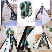 Deluxe Teepee Tent Blue Triangles - iKids
