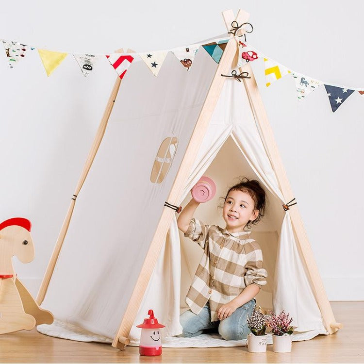 Square Teepee Tent Playhouse White - iKids