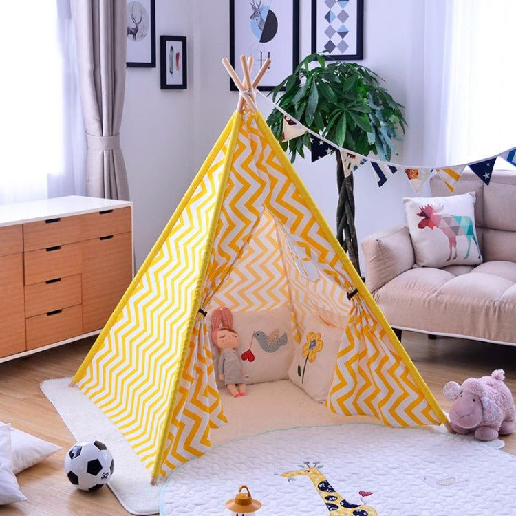 Teepee Tent Yellow Stripe - iKids