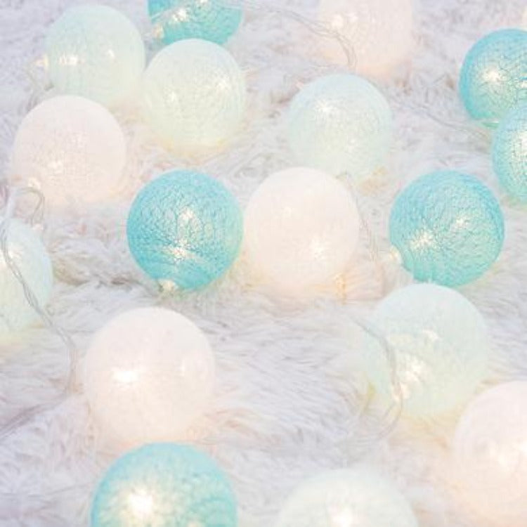 String Lights 20 Cotton Balls - Turquoise - iKids